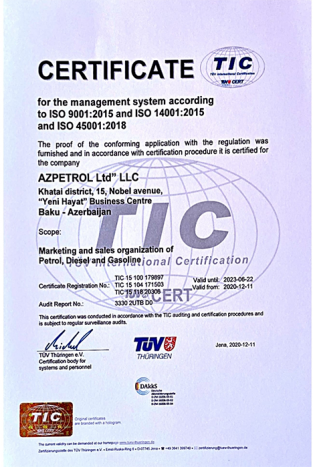 """Azpetrol"" Company was awarded with the Certificate"